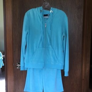 3 pc terry cloth jogging suit Robins Egg Blue